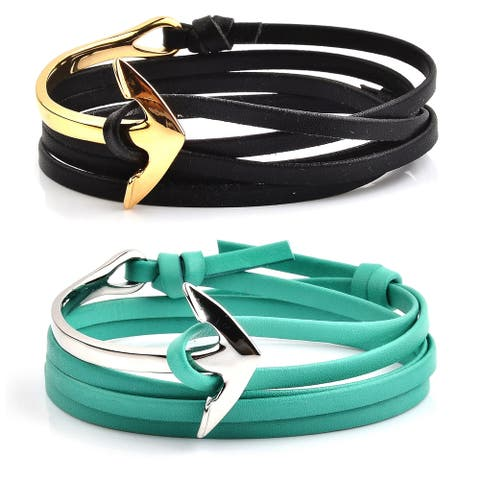 Crucible Stainless Steel Anchor Clasp Adjustable Leather Wrap Bracelet
