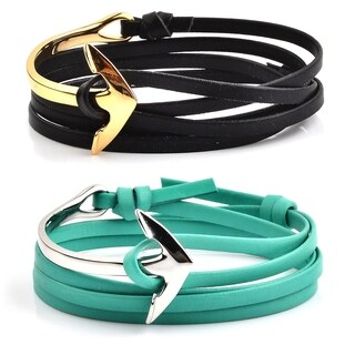 Polished Stainless Steel Anchor Clasp with Colored Leather Wrap Bracelet (4.5mm Wide)