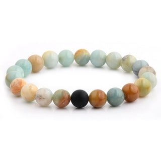Polished Amazonite Stone and Matte Onyx Beaded Stretch Bracelet (10.5mm Wide) - Blue/Orange/White