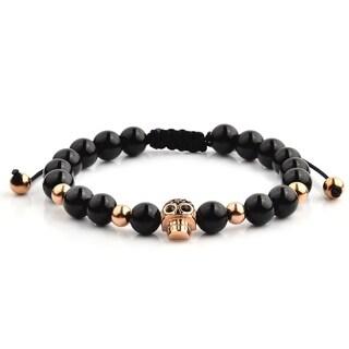 Rose Gold Plated Stainless Steel Skull Onyx Beaded Adjustable Bracelet - Black