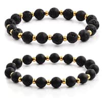 Gold Plated Polished Stainless Steel Natural Stone Beaded Stretch Bracelet (8.5mm Wide)