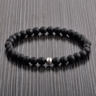 Polished Stainless Steel Natural Stone Beaded Stretch Bracelet (6mm) (3 options available)