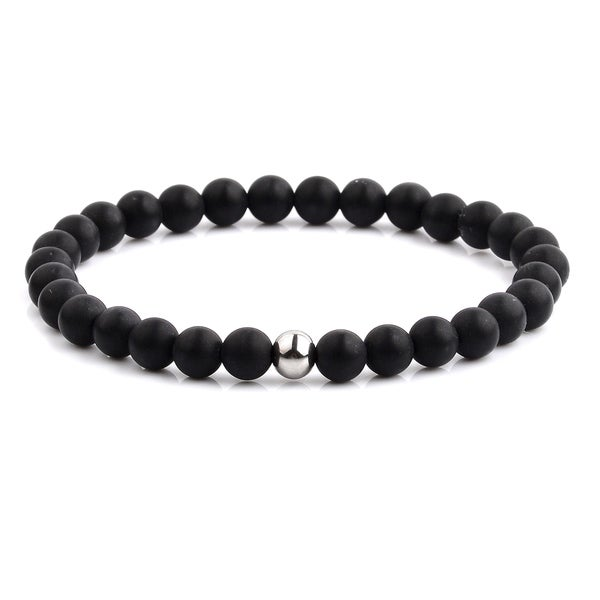 Polished Stainless Steel Natural Stone Beaded Stretch Bracelet (6.3mm Wide)
