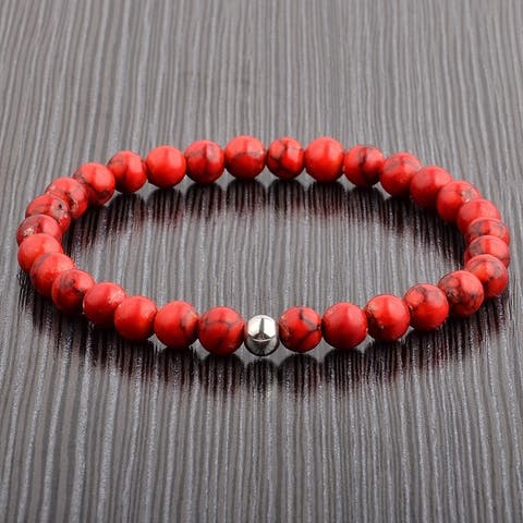 Polished Stainless Steel Natural Stone Beaded Stretch Bracelet (6mm)
