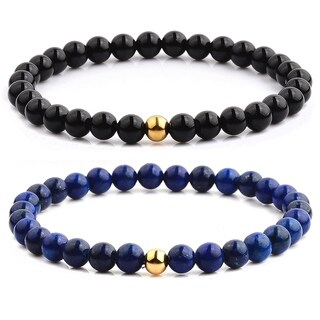 Gold Plated Polished Stainless Steel Natural Stone Beaded Stretch Bracelet (6.5mm Wide)