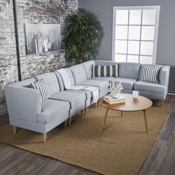 Milton Mid Century Modern 7 Piece Fabric Sectional Sofa Set By Christopher  Knight Home