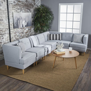 milton mid century modern 7piece fabric sectional sofa set by christopher knight home