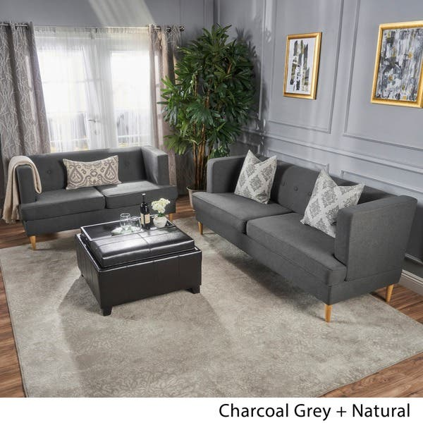 Awe Inspiring Shop Milton Mid Century Modern 2 Piece Fabric Sofa Set By Unemploymentrelief Wooden Chair Designs For Living Room Unemploymentrelieforg