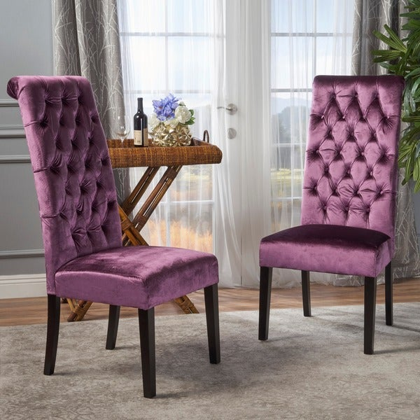 Leorah Tall Back Tufted Velvet Dining Chair (Set Of 2) By Christopher  Knight Home