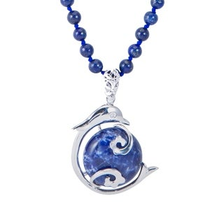 Sterling Silver 32 49ctw Round Lapis Beaded Dolphin Pendant Necklace