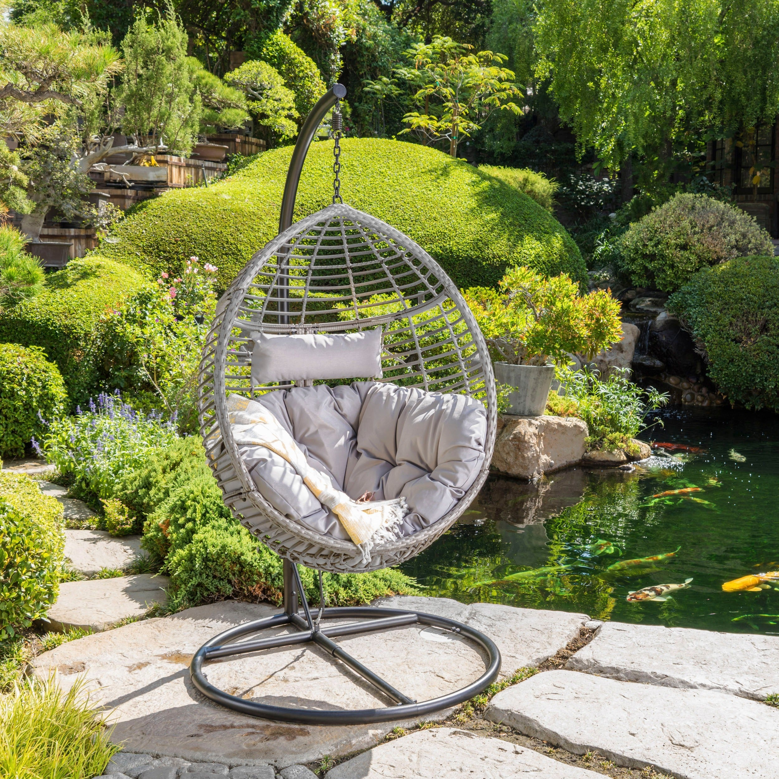 Layla Outdoor Wicker Hanging Basket Chair with Cushions b...