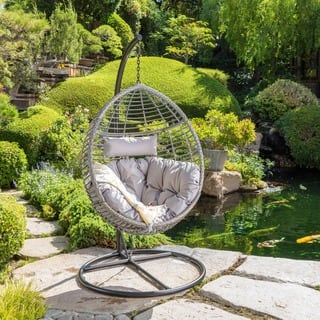 Layla Outdoor Wicker Hanging Basket Chair with Cushions by Christopher Knight Home|https://ak1.ostkcdn.com/images/products/17813700/P24006805.jpg?impolicy=medium