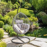 Layla Outdoor Wicker Hanging Basket Chair with Cushions by Christopher Knight Home