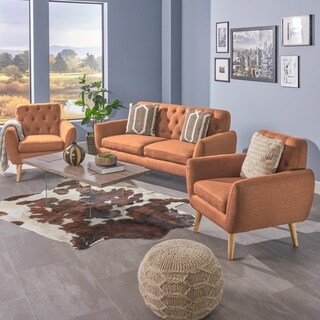 Bernice Mid Century Modern Petite 3-piece Fabric Sofa Set by Christopher Knight Home