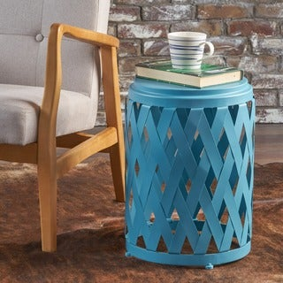 Pecola 12-inch Round Lattice Side Table by Christopher Knight Home