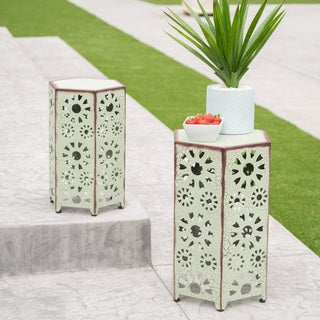 Eliana Outdoor 12-inch and 14-inch Nested Side Table Set by Christopher Knight Home