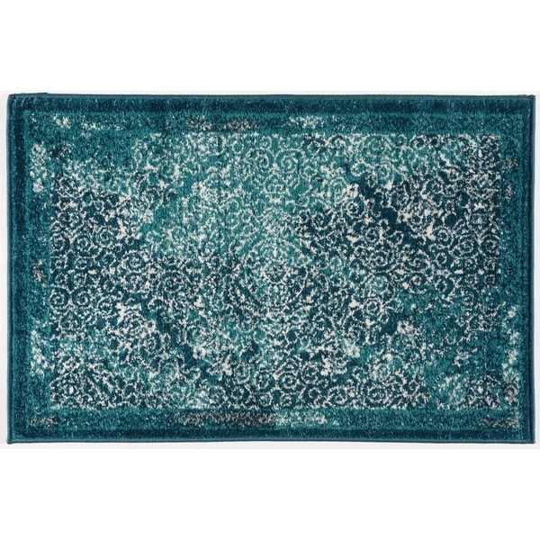 Transitional Distressed Damask Soft Rug - 2' x 3'