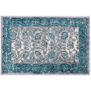 Traditional Distressed Floral Design Soft Rug - 2' x 3'