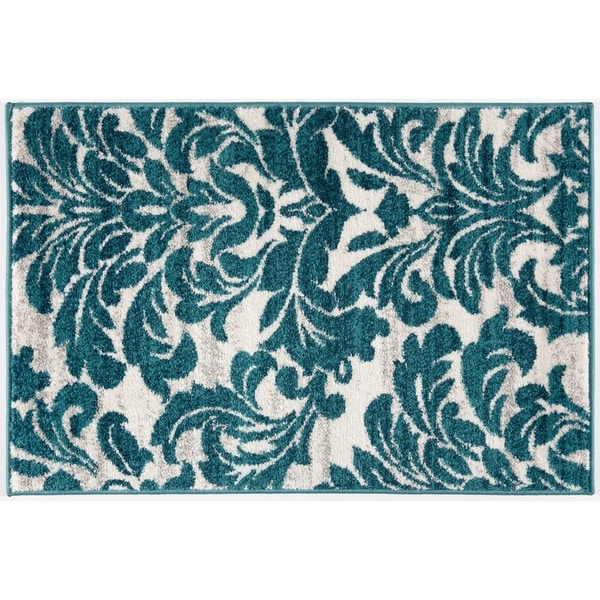 Transitional Floral Damask Soft Rug - 2' x 3'