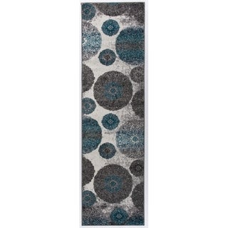 Transitional Modern Circles Floral Design Soft Runner Rug - 2' x 7'