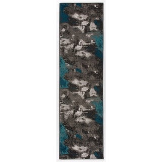 Abstract Distressed Modern Soft Runner Rug - 2' x 7'