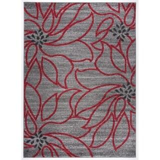 Transitional Modern Large Floral Soft Area Rug (5'3 x 7'3)
