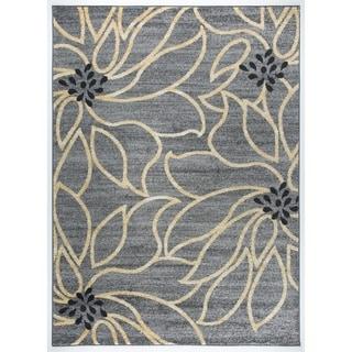 Transitional Modern Large Grey Floral Soft Area Rug (5'3 x 7'3)
