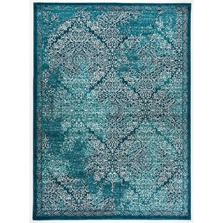 Transitional Distressed Damask Soft Area Rug (5'3 x 7'3)