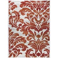 Transitional Floral Damask Soft Area Rug - 7'10 x 10'