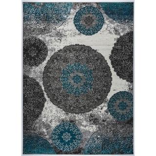 Transitional Modern Circles Floral Design Soft Area Rug - 7'10 x 10'
