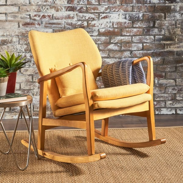 Tremendous Shop Benny Mid Century Modern Fabric Rocking Chair By Gmtry Best Dining Table And Chair Ideas Images Gmtryco