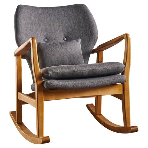 Benny Mid-Century Modern Tufted Fabric Rocking Chair with Accent Pillow by Christopher Knight Home