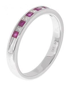 14k White Gold 1/6-ct. TDW Diamond & Ruby Ring