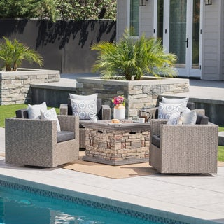 Puerta Outdoor 4-piece Wicker Chair Set with Square Stone Firepit by Christopher Knight Home