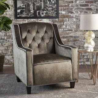 Link to Giada Two Tone Tufted Velvet Club Chair by Christopher Knight Home Similar Items in Accent Chairs