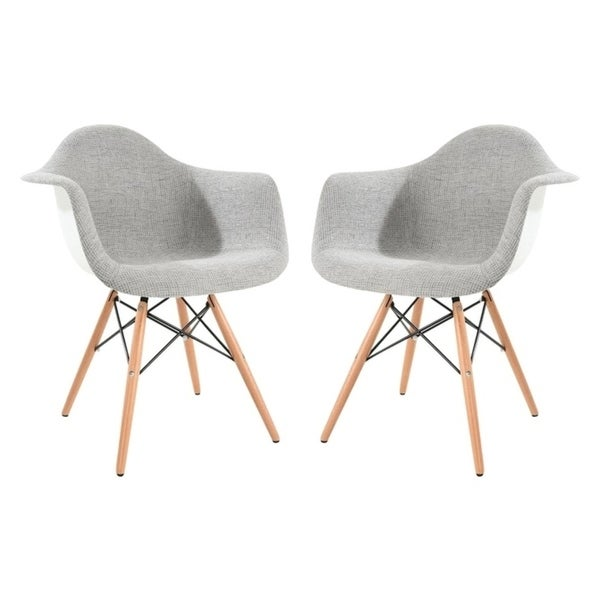 LeisureMod Willow Grey Fabric Accent Chair w/ Wooden Legs (Set of 2)
