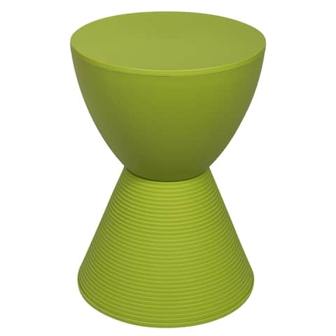 LeisureMod Modern Boyd Round Green Side Table