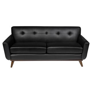 LeisureMod Modern Luray Tufted Sofa with Cherry Oak Base in Black Leather