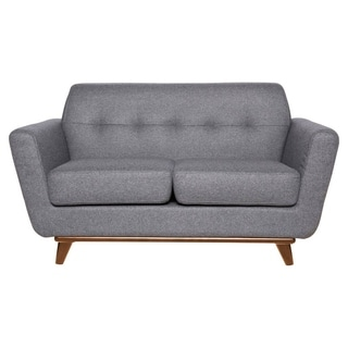 LeisureMod Luray Modern Light Grey Wool Blend Tufted Loveseat With Cherry Oak Base