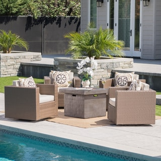 Puerta Outdoor 4-piece Wicker Swivel Chair Set with Square Firepit by Christopher Knight Home