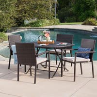Adler Outdoor 5-Piece Round Foldable Wicker Dining Set with Umbrella Hole & Cushions by Christopher Knight Home