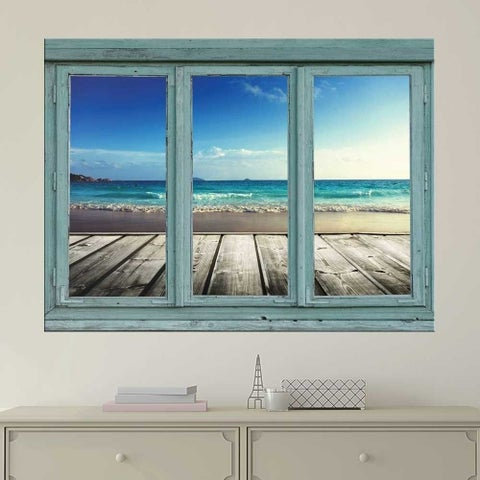 Dock View of Ocean Wall Mural, Removable Sticker, Home Decor Wall Vinyl