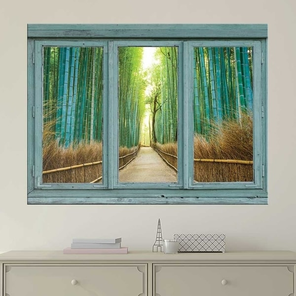 Bamboo Forest With Path Wall Mural, Removable Sticker, Home Decor Wall Vinyl