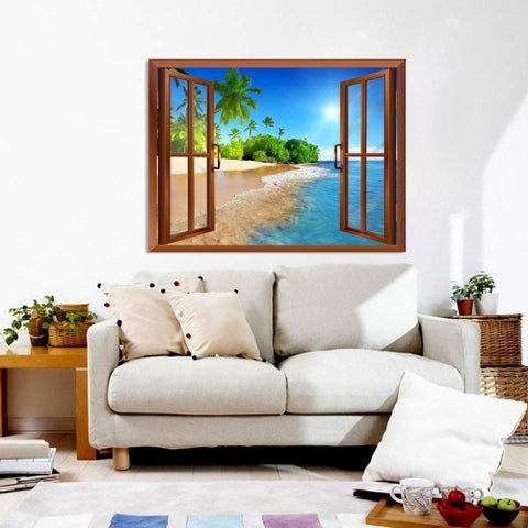 Palm Tree on the Beach and Clear Sea View Wall Mural, Removable Sticker, Home Decor Wall Vinyl