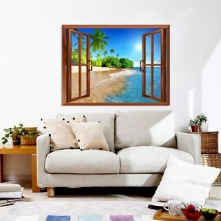 Palm Tree On The Beach And Clear Sea View Wall Mural, Removable Sticker,  Home