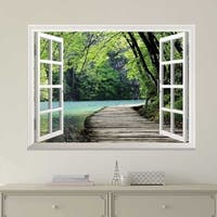 Modern White Window Looking Out Into a Bridge Wall Mural Removable Sticker Home Decor Wall Vinyl