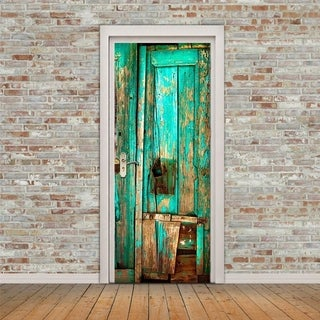 3D Old Wooden Door Wall Mural Wallpaper Stickers Removable Decals for Home Room Decoration Wall Vinyl