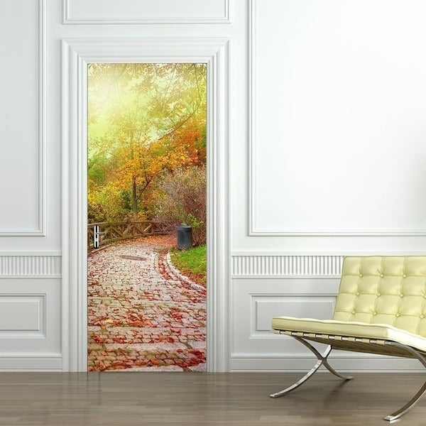 Attirant 3d Door Wallpaper Murals Wall Stickers Stone Road For Home Decoration  Self Adhesive Removable Art