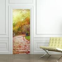 3d Door Wallpaper Murals Wall Stickers Stone Road for Home Decoration Self-adhesive Removable Art Door Decals Wall Vinyl