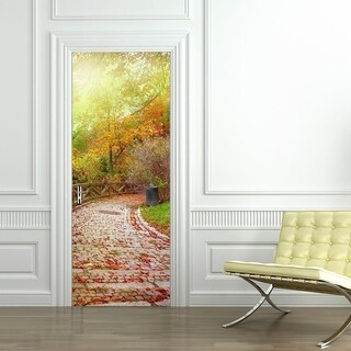 3d Door Wallpaper Murals Wall Stickers Stone Road for Home Decoration Self-adhesive Removable Art Door Decals Wall Vinyl